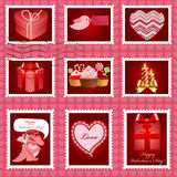 Valentine's day pink postage set. Royalty Free Stock Photo