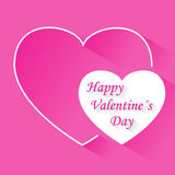 Valentine's day pink vector background with two hearts with shadow Stock Photo