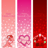 Valentine's day pink vertical banners. Vector illustration Royalty Free Stock Photos