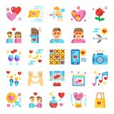 Valentine`s day pixel perfect flat icons stock illustration