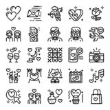Valentine`s day pixel perfect icons royalty free illustration