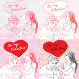 Valentine s Day pop art card set Royalty Free Stock Photo