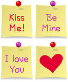 Valentine s Day Post It Set. Collection of four St. Valentines or Saint Valentine s Day greeting post it notes, on white background. Eps file available Royalty Free Stock Photos