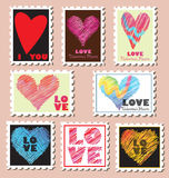 Valentine's day post stamps. A big set of sweet Valentine's day post stamps that can be used as design elements Royalty Free Stock Photo