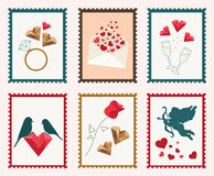 Valentine's Day Postage Stamps. Vector set of six cute Valentine's Day stamps Royalty Free Stock Image