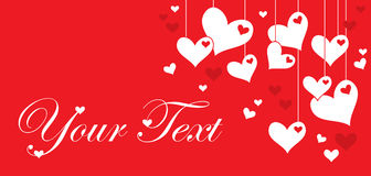 Valentine's day postcard. With hearts on red background Stock Photography