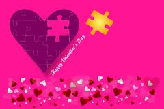 Valentine`s Day postcard as a puzzle pieces stock photography