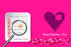 Valentine`s Day postcard with calendar sheet stock photography