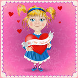 Valentine's day postcard. Cute little girl Stock Photos