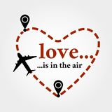 Love is in the air. Valentine`s day postcard. Greeting card with love is in the air quote and heart shaped flight track and airplane. Symbol of love and vector illustration