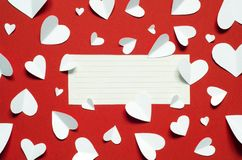 Valentine`s Day postcard. Love concept for mother`s day and valentine`s day. Top view. Copy space stock photos