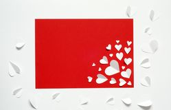 Valentine`s Day postcard. Love concept for mother`s day and valentine`s day. Top view. Copy space stock images