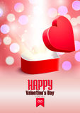 Valentine's day postcard opened surprise gift box and shine Royalty Free Stock Photos