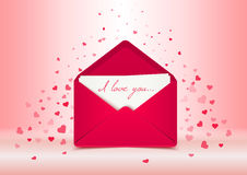 Valentine's day postcard, pink vector envelope, love letter illustration Stock Photos