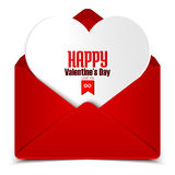 Valentine's day postcard, red envelope with white heart in it Royalty Free Stock Photo