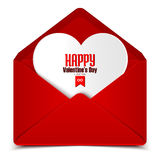 Valentine's day postcard, vector illustration of red envelope with white heart Stock Image