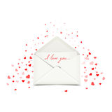 Valentine's day postcard with white envelope, love letter illustration Royalty Free Stock Image