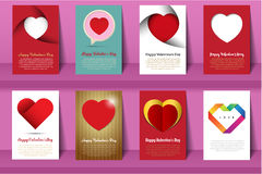 Valentine`s day postcards and brochures in vintage style Stock Photos