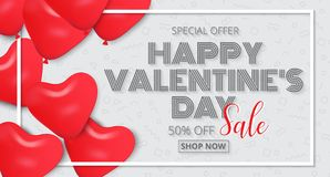 Valentine`s Day poster design sale promotion with red heart  Royalty Free Stock Photo