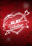 Valentine's Day poster with heart and arrow. Vector illustration Royalty Free Stock Photography