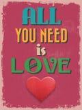 Valentine's Day Poster. Retro Vintage design. Royalty Free Stock Photo