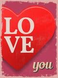 Valentine's Day Poster. Retro Vintage design. Love You. Stock Image