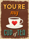 Valentine's Day Poster. Retro Vintage design. Stock Photo