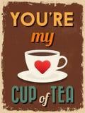 Valentine's Day Poster. Retro Vintage design. Stock Photo