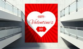 Valentine's Day poster on wall in store interior Royalty Free Stock Photography