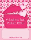 Valentine`s Day Potluck Invitation. Valentine Pot Luck Invite Hearts Holiday Vector Party Office Food Lunch flyer royalty free illustration