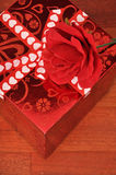 Valentine's day present. Red rose and romantic Valentine's day present Stock Photos