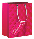 Valentine's Day Present. Shopping Bag With Hearts and Gift Tag - Vector stock illustration