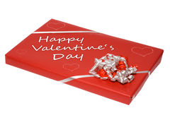 Valentine's day present. Red happy valentine's day present isolated on white Royalty Free Stock Image