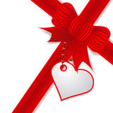 Valentine's day present with red bow. Illustration present's decoration with red bow and wishes's note Stock Images