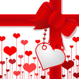Valentine's day present with red bow stock illustration