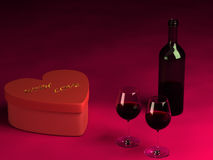 Valentine's day present, two glasses of wine and a bottle. Royalty Free Stock Images