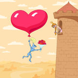 Valentine's Day of princess in a tower Stock Images