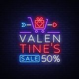 Valentine`s Day is a proposal, a neon style banner template. Neon Sign, Poster Design for a Store, Bright Banner Stock Photography