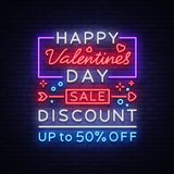 Valentine`s Day is a proposal, a neon style banner template. Neon Sign, Poster Design for a Store, Bright Banner Royalty Free Stock Photography