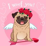 Valentine`s day pug dog pet theme card. Cute funny pug puppy in love, dressed as Cupid, with wings, heart arrow, red rose flowers. Wreath on head, on pink stock illustration