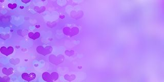 Valentine`s Day purple background with hearts. stock photo
