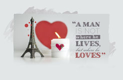 Valentine's Day Quotes with Candle, Hearth and Eiffel Tower Souv. Enir stock photo