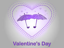 Valentine`s Day. A rain of heart. Royalty Free Stock Photos