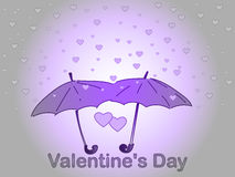 Valentine`s Day. A rain of heart. Royalty Free Stock Photography