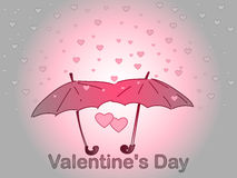 Valentine`s Day. A rain of heart. Stock Photos