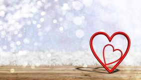 Valentine`s day. Red attached hearts on blur snow background, banner, copy space. 3d illustration. Valentine`s day concept. Red attached hearts on blur snow Stock Images