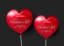 Valentine`s day, red balloons in the form of heart on black background. Valentine`s day, red balloons in the form of heart Royalty Free Stock Image