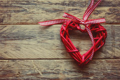 Valentine's Day red braided heart Royalty Free Stock Images