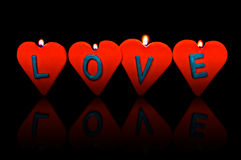 Valentine's day. Red candles. Valentine's day. Red candles in heart shape Royalty Free Stock Image