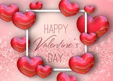 Valentine`s Day Red 3D Render Hearts Glitter Background Stock Photo